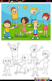 Kids and teens characters group color book page