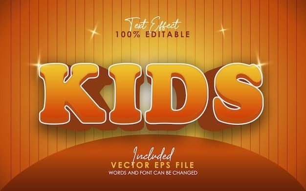 Детский текстовый эффект милый оранжевый цвет редактируемый