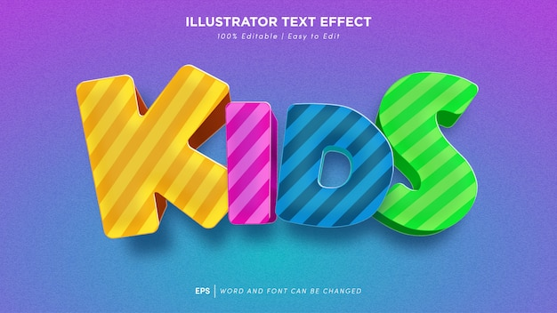 Kids text effect editable font