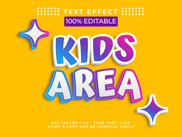 Kids text effect style editable text effect vector