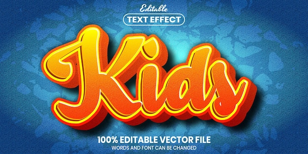 Kids text, font style editable text effect