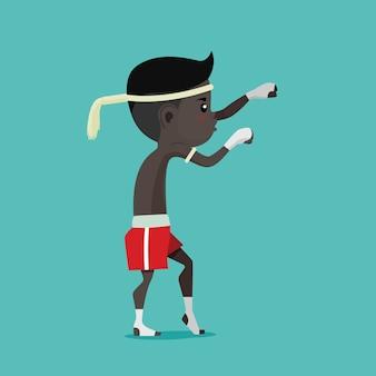 Kids of thai boxing (muay thai), vector cartoon