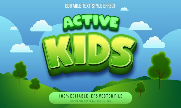Kids theme text style.  vector editable text style effect.