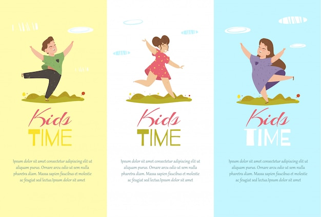 Kids time vertical banners set. creative templates