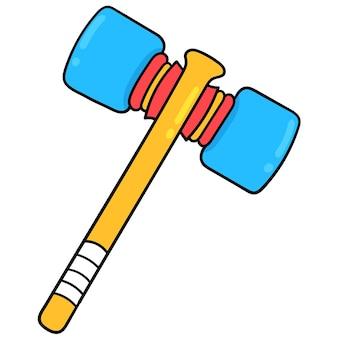 Детский игрушечный молоток. мультяшный смайлик. каракули значок рисунок, векторные иллюстрации