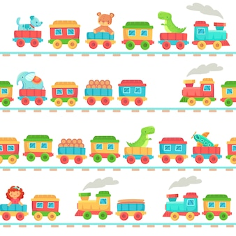 Kids toy train pattern. children railroad toys, baby trains transport on rails and kid railway seamless