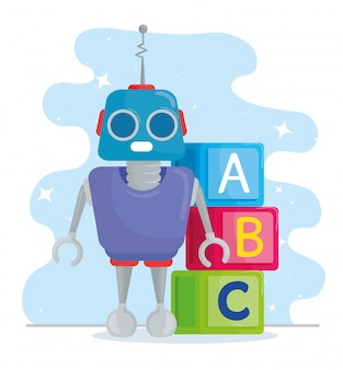 Детские игрушки, кубики алфавита с роботом