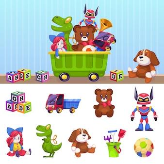 子供のおもちゃ箱。子供のおもちゃのコンテナーで遊ぶブロック車の家とビールの漫画セット