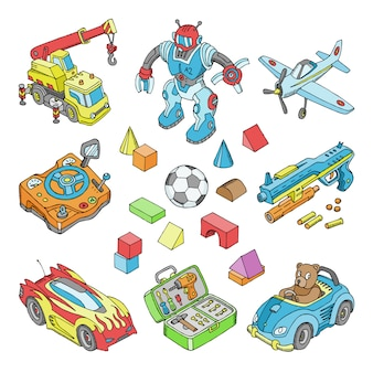 Kids toys  cartoon boyish games in playroom and playing with car or children blocks illustration isometric set of teddy bear and plane or robot for boys  on white background