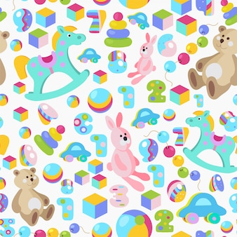 Kids toys colorful seamless pattern