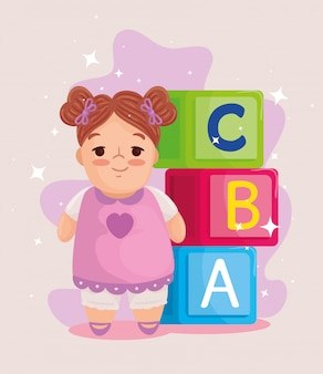 Kids toys, cute doll and cubes alphabet