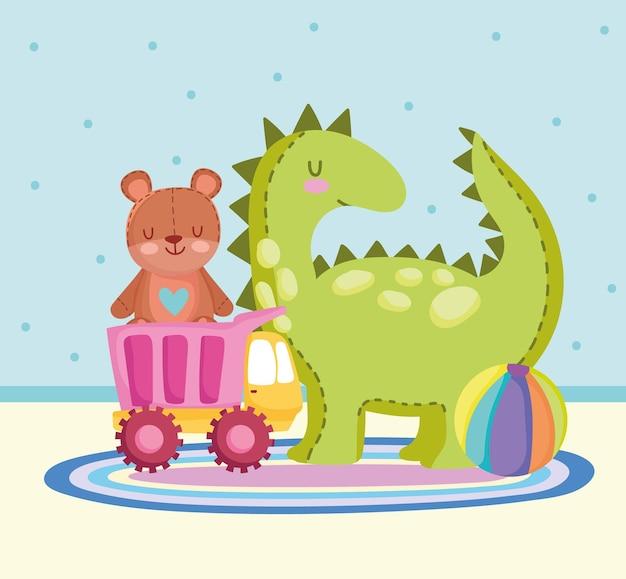 Детские игрушки динозавр медведь грузовик