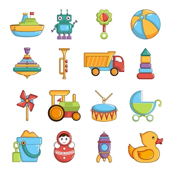 Kids toys icons set