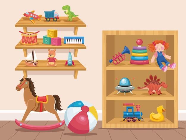 部屋の子供のおもちゃ