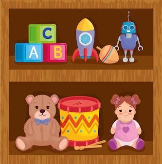 Детские игрушки на деревянных стеллажах