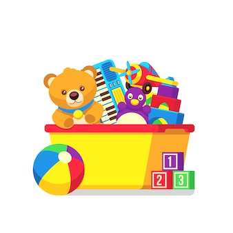 Kids toys in kids box vector clipart