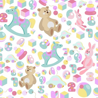 Kids toys pastel seamless pattern