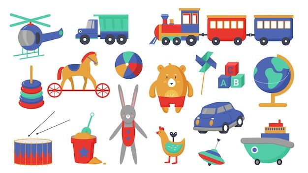 子供のおもちゃベクトルイラストセット。漫画の子供たちの活動、小さな男の子と女の子と遊ぶためのかわいいプラスチックのおもちゃの輸送を備えた教育ゲームコレクション