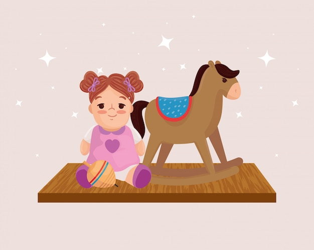Kids toys, wooden horse and cute doll