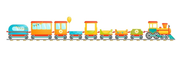 Kids train toy in cartoon style. vector illustration isolated on white background.