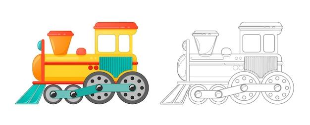 子供たちは漫画風の塗り絵でおもちゃを訓練します。白い背景で隔離のベクトルイラスト。