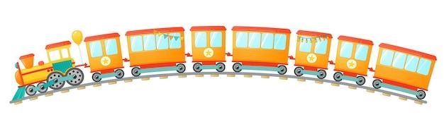 子供たちは漫画のスタイルでおもちゃを訓練します。白い背景で隔離のベクトルイラスト。