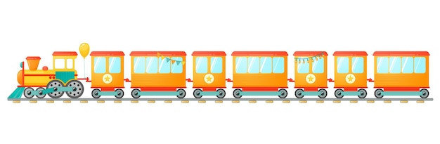 Kids train toy with orange wagons in cartoon style. vector illustration isolated on white background.
