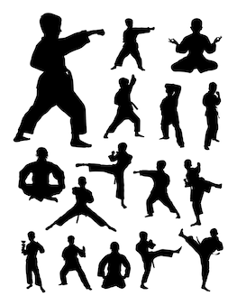 Kids training karate silhouette