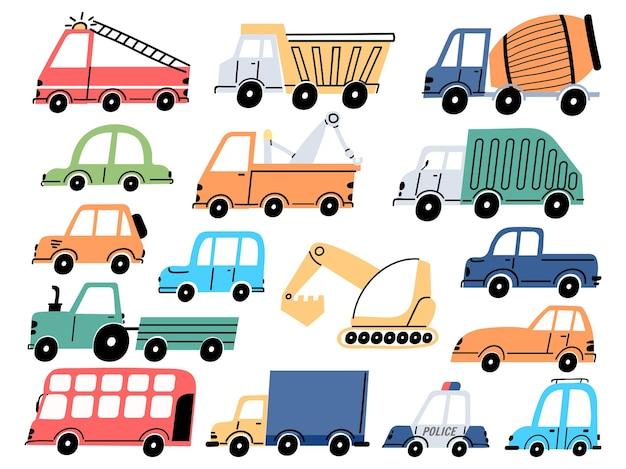 子供の輸送と車、建設用トラクター、掘削機、掘削機。漫画の子供たちの消防車、ダンプトラック、警察車両のベクトルを設定します。業界の幼稚な輸送要素