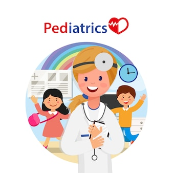 Kids treatment in hospital, pediatrics banner.