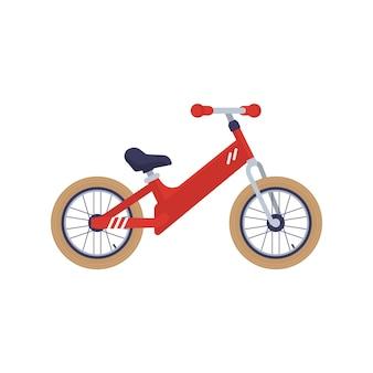 子供の二輪キックバイクまたはバランス自転車フラットベクトルイラスト分離