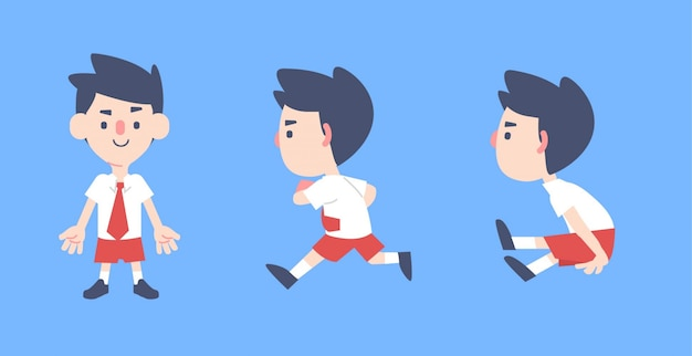 Kids in uniform running and jumping characters illustration