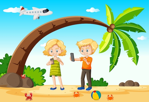 Kids using smart phone during travelling with beach and plane