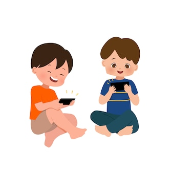 Kids using smartphone gadget to play game and watch video online. flat isolated on white background.