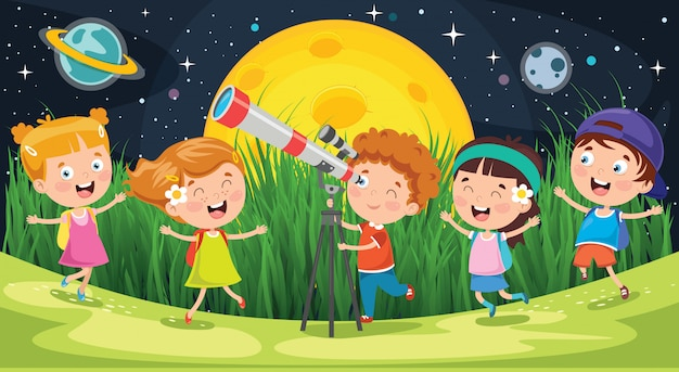 Kids using telescope for astronomical research