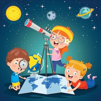 天体研究に望遠鏡を使用している子供