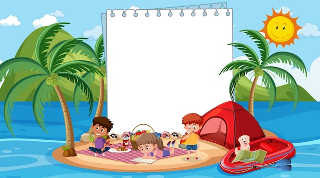 Kids on vacation at the beach daytime scene with an empty banner template