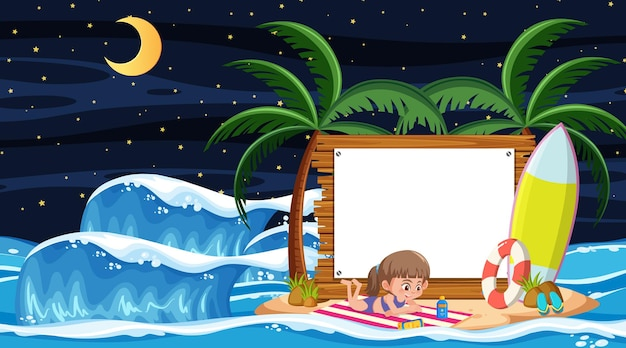 Kids on vacation at the beach night scene with an empty banner template