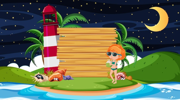 Kids on vacation at the beach night scene with an empty wooden banner template