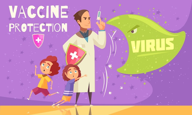 Kids vaccination against virus infections for effective disease prevention health care promotion cartoon