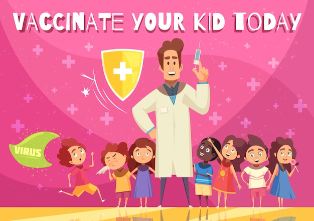 Kids vaccination benefits promotion illustration with child health protection shield symbol doctor with syringe cartoon