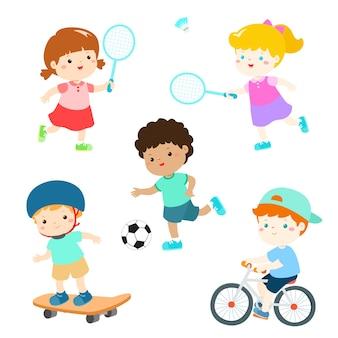 Kids in various sport activity vector illustration