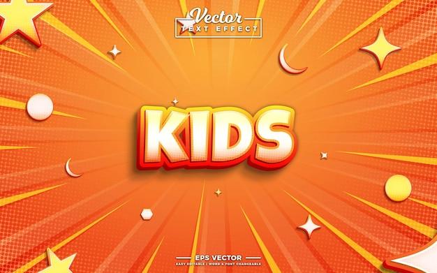 Дети вектор 3d редактируемый текстовый эффект