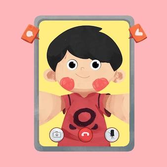 子供のビデオ通話の概念図