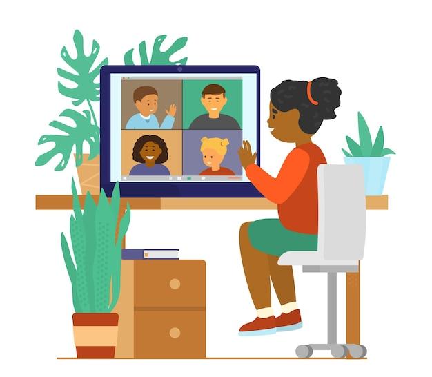 어린이 화상 회의 채팅. 연결하는 다른 인종 아이들.
