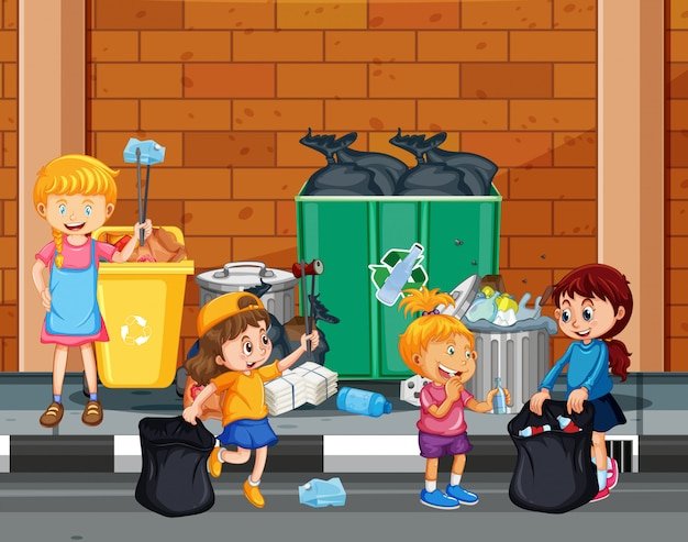 Kids volunteering cleaning up the town