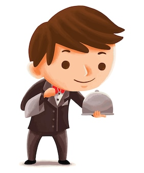 Kids waiter in cute character style