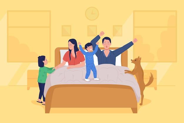 子供たちは親のフラットカラーベクトルイラストを目覚めさせます。ベッドであくびをする母と父。早朝のルーチン。子供たちは遊ぶ。背景に寝室を持つ家族の2d漫画のキャラクター