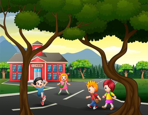 道路のイラストを歩く子供たち