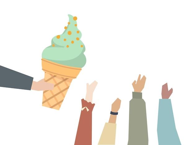 アイスクリームを食べたい子供たち
